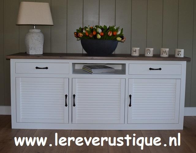 Landelijk dressoir wit met eiken blad in Taupe 170 cm b x 45 cm d x 70 cm h