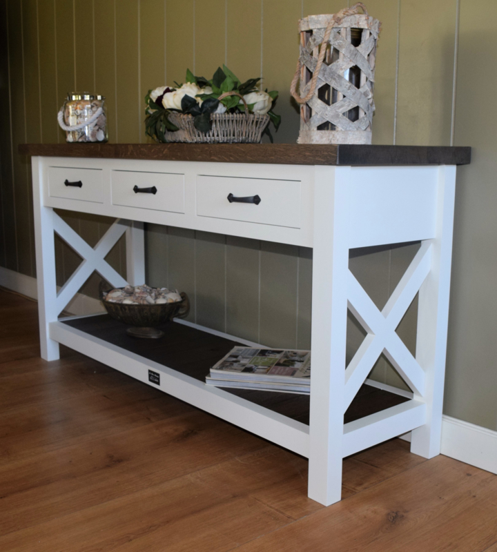Witte Side Table.Landelijk Witte Sidetable Met Eiken Blad Plateau 150 X 45