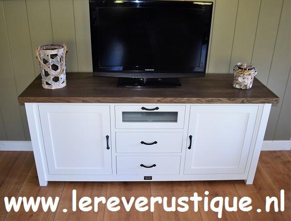 Tv Kast 50 Diep.Landelijk Wit Tv Meubel Met Eiken Blad 170 X 50 X 75 Cm Hg