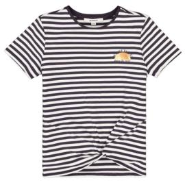 Garcia Girls t-shirt gestreept donker grijs