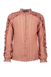 Nono blouse roezels gestreept roze