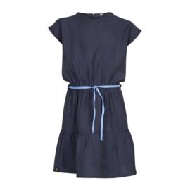 Kiestone jurkje donkerblauw met tailleriempje