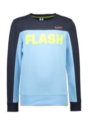 B-nosy jongens sweater blauw flockprint tekst