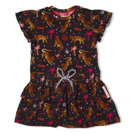 Feetje meisjes jurkje antraciet met luipaard print