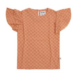 CarlijnQ meisjes shirt met roezel lichtroze
