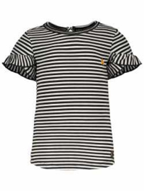 Like Flo t-shirt zwart gestreept roezelmouw