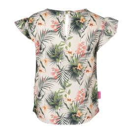 Kiezeltje blouse tropische bloemen roezel mouw