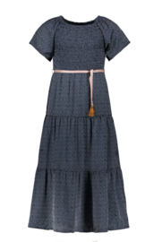 Nono Malia maxi jurk navy stippen met riempje