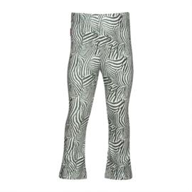 Kiezeltje flaired broek groene zebra print