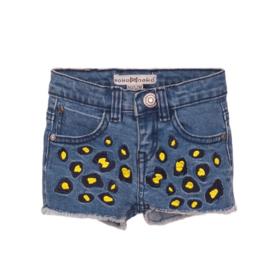 Koko noko meisjes korte spijkerbroek blauw gele panter print