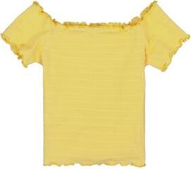 Garcia Girls off shoulder top geel gestreept