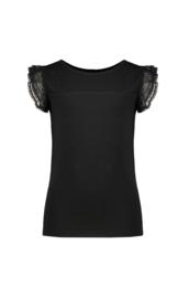 Nono T-shirt zwart roezel mouwen