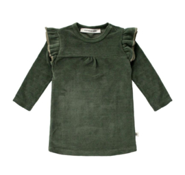 Your Wishes ruffle sweater dress donkergroen