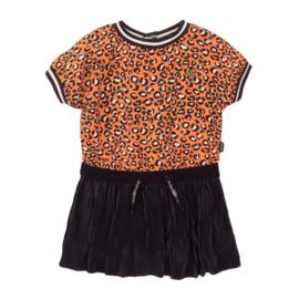 Koko noko meisjes jurkje oranje navy panter