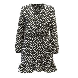 Kiestone jurk zwart witte stippen