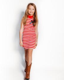 bobbi ravioli halter jurk rood gestreept