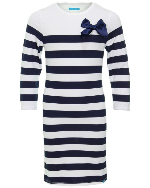 bobbi ravioli jurk navy gestreept