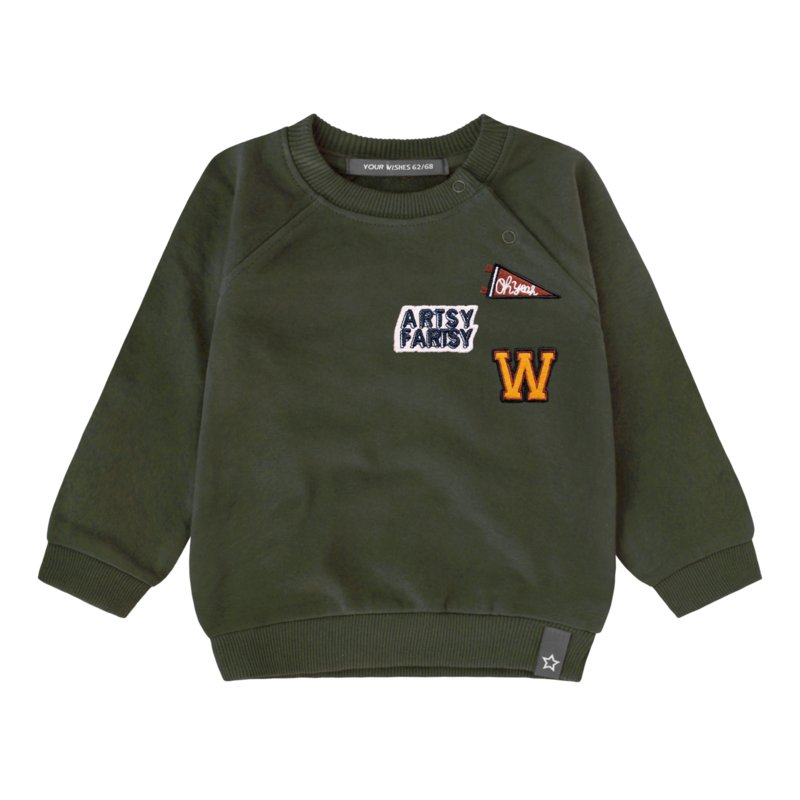 Your Wishes sweater army green patch