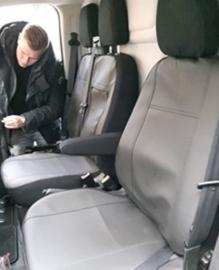 Maatwerk Autostoelhoes 2 x voorstoel Fiat DOBLO IV  bj 2015 -heden  KUNSTLEER