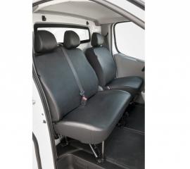 Maatwerk Opel Vivaro I  - Renault Trafic II   2001-2014 Stoel + Bank (2+1) KUNSTLEER