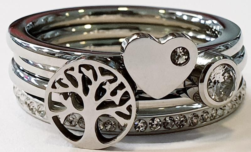 Boom zilver 4 ringen