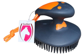 Rubber massage borstel | Zwart/Oranje