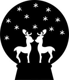 strijkapplicatie kerst schudbol hertjes