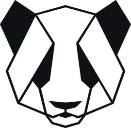 strijkapplicatie panda geometrisch