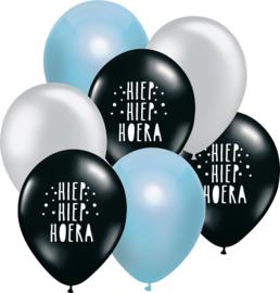 7 ballonen mix 'Hoera' zwart/ blauw/ zilver