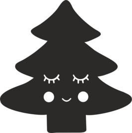 strijkapplicatie kerstboom gezichtje
