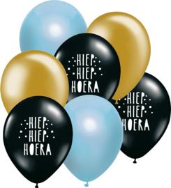 7 ballonen mix 'Hoera' zwart/ blauw/ goud