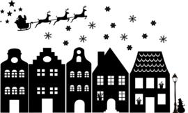 herbruikbare raamsticker huisjes kerst (& sint complete set)