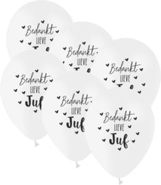 6 ballonen 'bedankt lieve juf'