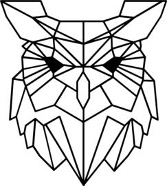 strijkapplicatie uil geometrisch