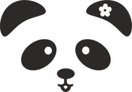 Muursticker panda snoet bloem