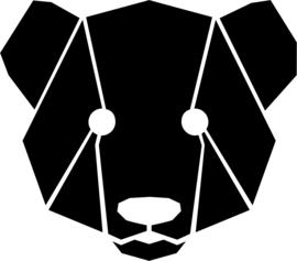 strijkapplicatie berenkop geometrisch vlakken