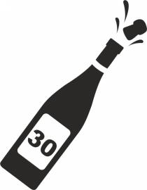 strijkapplicatie Champagnefles cijfer