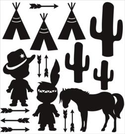 Statische raamsticker cowboys en indianen (herbruikbaar)