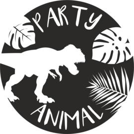 strijkapplicatie Party Animal dino