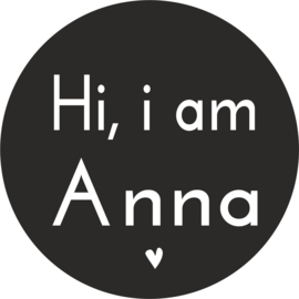 strijkapplicatie 'Hi i am' hartje