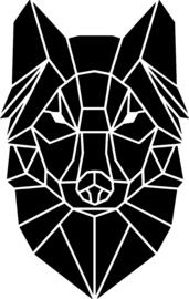 strijkapplicatie wolf geometrisch vlakken
