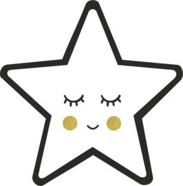 strijkapplicatie ster gezichtje 2 kleuren