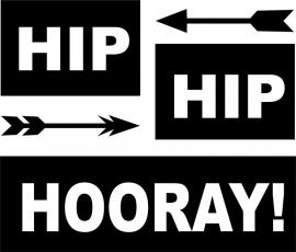 strijkapplicatie hip hip hooray