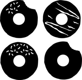 Statische stickers keukentje donuts