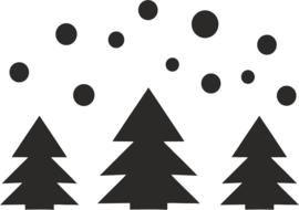 strijkapplicatie kerstbomen sneeuw