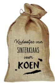 Jute zak - kadootjes van Sinterklaas veeg