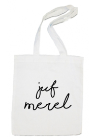 linnen tas -  Juf naam geschreven