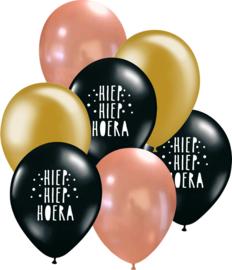 7 ballonen mix 'Hoera' zwart/ rosé goud/ goud