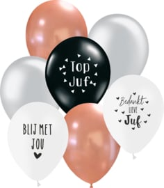 7 ballonen mix 'juf' zwart/ zilver/ rosé/ wit