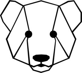 strijkapplicatie berenkop geometrisch